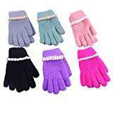 2/3 Pairs Toddler Kids Baby Boy girl Imitation Wool Knitted Mittens Gloves (Gril3-5Years--3Pairs)
