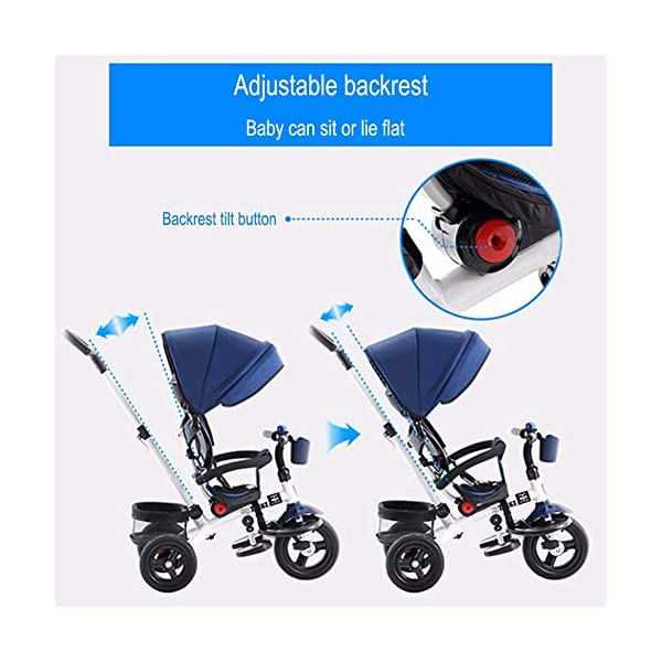 GSDZSY - 4 IN 1 Children Tricycle, 120 ° Adjustable Seat, Baby Can Sit Or Recline, Seat Is Comfortable And Easy To Use,1-6 Years Old GSDZSY ❀ Material: High carbon steel + ABS + rubber wheel, suitable for children from 1 to 6 years old, maximum load 30 kg ❀ Features: The seat can be rotated 360; the backrest can be adjusted, the baby can sit or lie flat, adjustable push rods and parasols, suitable for different weather conditions ❀ Performance: high carbon steel frame, strong and strong bearing capacity; rubber wheel suitable for all kinds of road conditions, good shock absorption, seat with breathable fabric, baby ride more comfortable 7