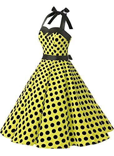 Dressystar Vintage Tupfen Retro Cocktail Abschlussball Kleider 50er 60er Rockabilly Neckholder Gelb Schwarz Dot
