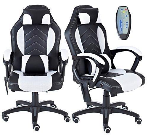 Neo Exekutive Massage PU Leder Lendenwirbelstütze Sport Rennwagen spielen Bürostuhl - Weiß& Schwarz