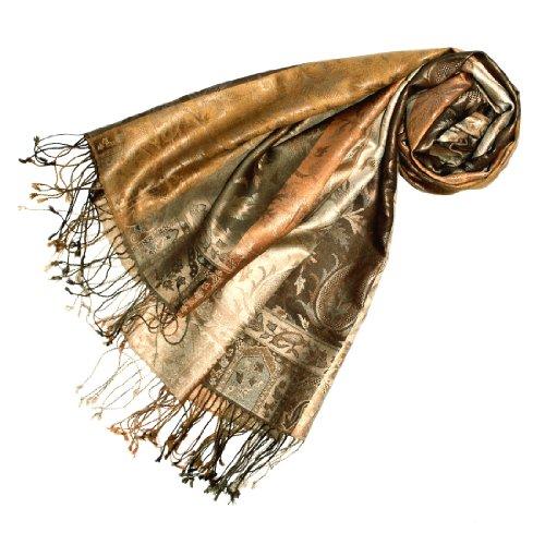 Wunderschöne Damen Mantel Jacke Seide (LORENZO CANA Luxus Pashmina Schal Schaltuch jacquard gewebt 100% Seide 70 x 190 cm Paisley Muster Seidenschal Seidentuch Seidenpashmina harmonische Farben)