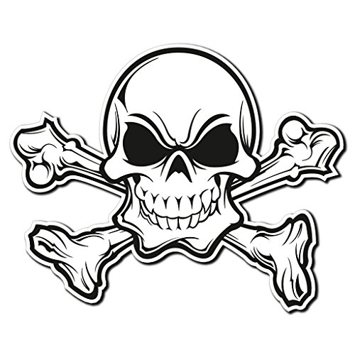 Preisvergleich Produktbild 2x Totenkopf Jolly Roger Knochen Vinyl Aufkleber Aufkleber Laptop Reise Gepäck Auto Ipad Schild Fun # 4011 - 10cm/100mm Wide