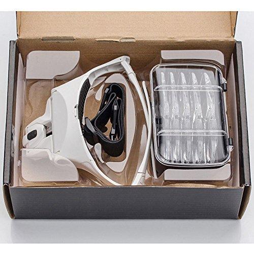 mit Licht Hände Frei Kopfband Lupen Standlupe mit 2 LED lichts für Hobby,Denest,Elektriker,Juweliere,Nähen,Handwerk,und ältere Menschen-5 Wechselobjektive ()