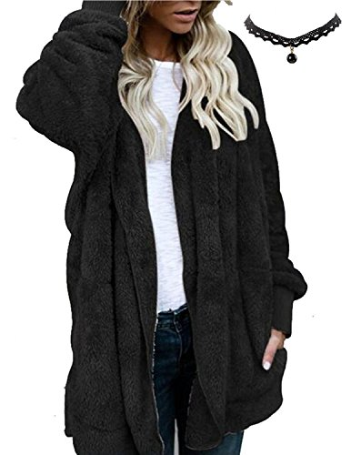 M-Queen Damen Lange Hoodie Strickjacke Plüsch Teddy-Fleece Mantel Outwear Cardigan Langarm Casual Kapuzenjacke Baggy Parka (Fleece-cardigan)