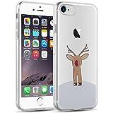 iPhone 8, iPhone 7 Hülle | JAMMYLIZARD Transparente Schutzhülle Gel Weihnachts-Sketch Back Cover Case aus Silikon, Rudolf
