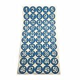 """2 """"runde Zahl 1-50 Adhesive Aufkleber Identifizieren Inventar Lageretiketten Blau"""