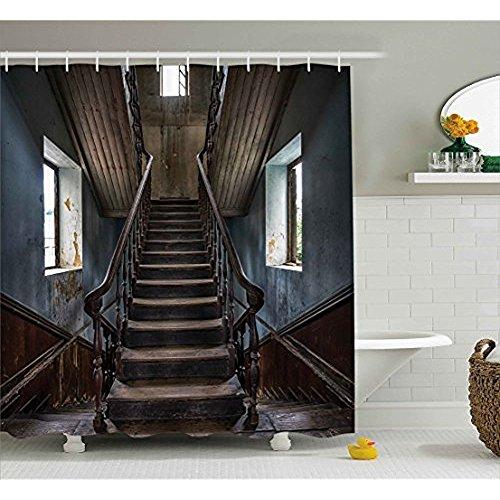 schvorhang, Horror Movie Thema Klassische einsame verlassene Haus mit alten Vintage Treppen Artwork, Stoff Badezimmer eingerichtet mit Haken, Multicolor 60