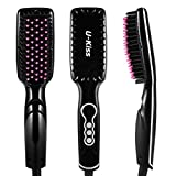 U-Kiss Ionic Hair Straightener Brush, Ceramic MCH Straightening Automatic Digital Hair Straightener with LCD Display Anti-static Anti-glowing Hair Massage Styling Comb