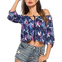 Luckycat Sexy Hombros Descubiertos Mujer Moda Estampado 3/4 Camisetas Tops Blusas Fiesta