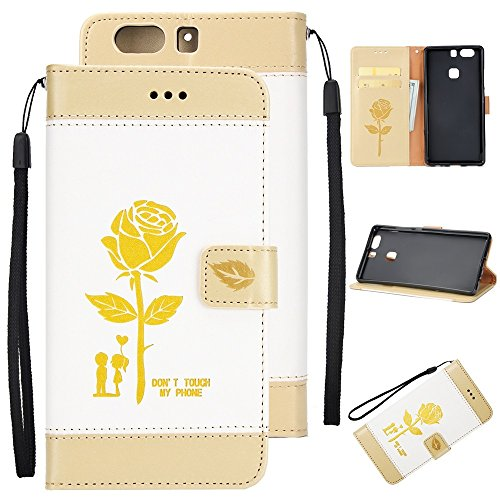 EKINHUI Case Cover Gemischte Farben Rose Blume matt Premium PU Leder Brieftasche Stand Case Cover mit Lanyard & Card Slots für Huawei P9 Plus ( Color : Blue ) White