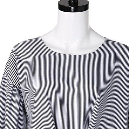 Longra Grande Taille Chemisier Femme Fille Chic Rayé Col rond Manchon lanterne Blouse Femme Casual Noeud papillon Tops à manches longues Femme Élégant Tee shirt Originaux T-shirt Mode Blanc