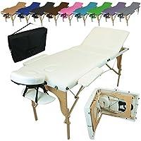 Vivezen Table de massage pliante 3 zones en bois avec panneau Reiki + accessoires et housse de transport, Blanc