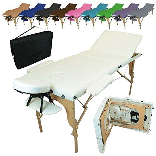Vivezen Table de massage pliante 3 zones en bois avec panneau Reiki...