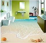 DDBBhome Schöne Seestückwellenstrand-Muscheln und Starfish 3D Boden Badezimmer-PVC-Tapete Hauptdekoration, 140X70Cm