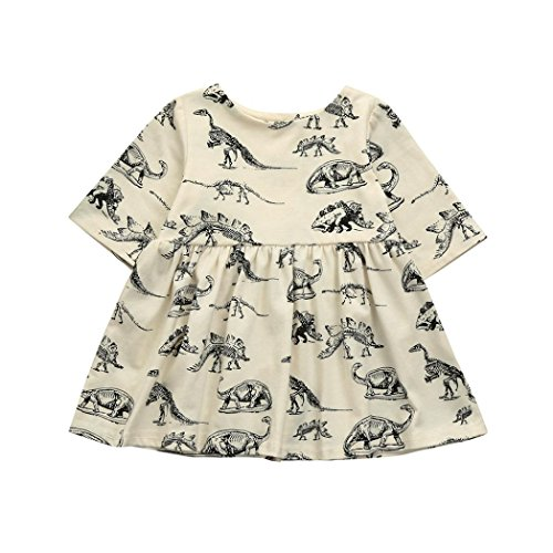 TPulling Mode Frühling Sommer Mädchen﹛3M-18M﹜Kinder Cartoon Dinosaurier﹛Knochen gedruckt﹜Ärmel Kleid Prinzessinkleid Rock Party Set Puff Top Pullover Mantel Dicke Outfits Kleider (Beige, 6M/80)