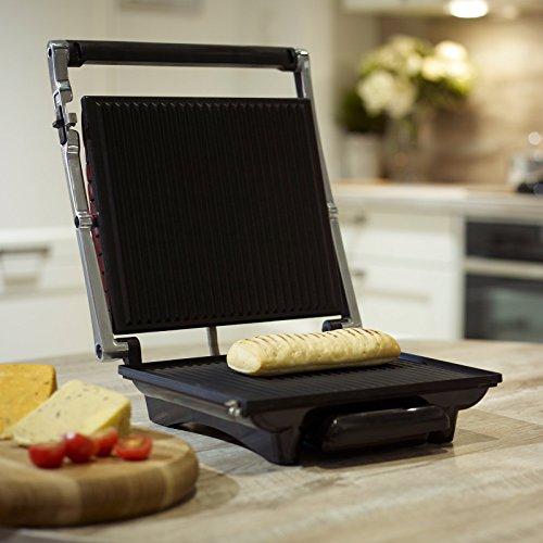 Dihl KA-PG04-BLK 4-Slice Sandwich Press Contact Panini Maker Health Lean Low Fat Grilled Toaster, Large, 2000 W, Black