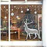 ufengke Feliz Navidad Árbol de Navidad de Plata Estrellas de Plata Escaparate Pegatinas de Pared, Sala de Estar Dormitorio Removible Etiquetas de La Pared / Murales