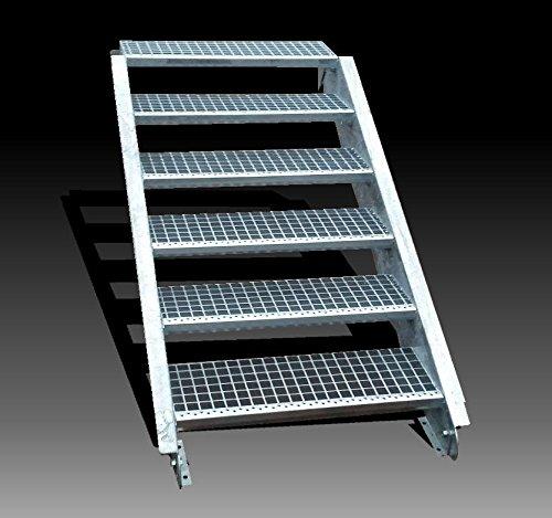 6-stufige Stahltreppe / Stufenbreite 70 cm / Geschosshöhe 90-120 cm / Inklusive Treppenwangen aus U-Profil + Gitterrost-Treppenstufen + Schrauben, Muttern / Wangentreppe Außentreppe Industrietreppe Stufen