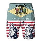 Delaware Flag Statue of Liberty Men's Beach Shorts Board Swim Trunks. Large