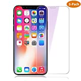 [3 Stück] Panzerglas Schutzfolie für iPhone X, iPhone X Displayschutzfolie mit Positionierhilfe,...