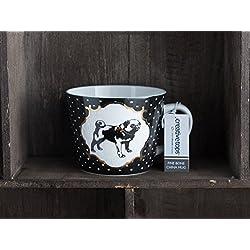 Taza de lunares en los bordes de CARLINO de porcelana, negro