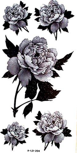 YiMei Wasserdicht und Schweiß Mode sexy floralen Pfingstrose temporäre Tattoos (Floral Temporäre Tattoos)