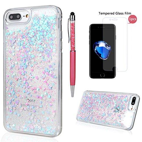 """Hülle für iPhone 7 Plus/8 Plus, xhorizon FM8 Harte Rückseitenabdeckung dynamisches flüssiges Quicksand-Mode mit funkelnden Diamanten-Herzen für iPhone 7 Plus / iPhone 8 Plus [5.5""""] Blau & Rosa + 9H Tempered Glass Film"""
