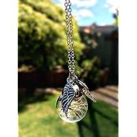 Catena Argento Sterling Ali d'angelo tarassaco collana pendente CONFEZIONE REGALO collana pendente angelo custode regalo commemorativo gioielli damigella d'onore