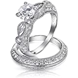 Bling Jewelry 925 Sterling Silver Vintage Style CZ Round Teardrop Wedding Engagement Ring Set
