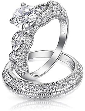 Bling Jewelry 925er Silber Vintage Rund Träne Verlobungsring Ehering Set