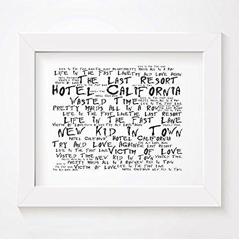 `Noir Paranoiac` Kunstdruck - THE EAGLES - Hotel California - Unterzeichnet und Nummerierten Limitierte Auflage Typografie Ungerahmt 25 x 20 cm Wand Kunst Druck Text Lyrisch Plakat - Song Lyrics Art Print