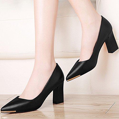 khskx-the New all-match a punta con tacco scarpe da lavoro scarpe con spessore pelle Zichao, Thirty-five Thirty-four