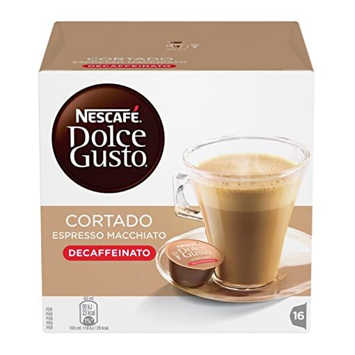 BOX OF NESCAFE DOLCE GUSTO CORTADO DECAF DECAFFEINATED COFFEE PODS 51hDRWQGYoL