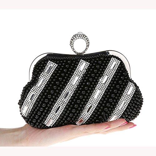 Nuovi mini perline anello di diamanti luminosi borsa borsa borsa sera di banchetto sacchetto della sposa vestito da modo Pochette ( Colore : Nero ) Nero