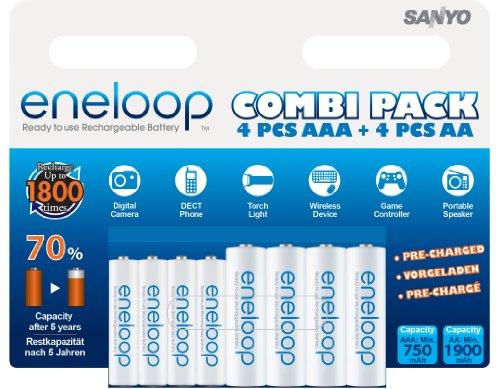 Sanyo Eneloop HR-3UTGB - Pack de 8 pilas AA/AAA (1900/750 mAh)