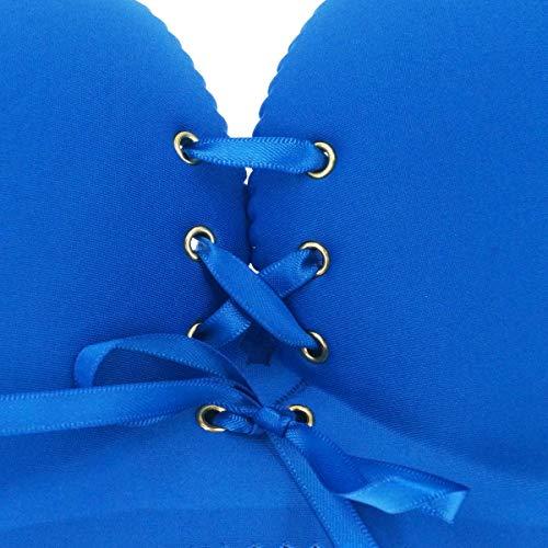 Aivtalk Damen-BH, Push-Up-BH, ohne Bügel, gefüttert, nahtlos, für jeden Tag - Blau - Etikett 32B= 65B - 5
