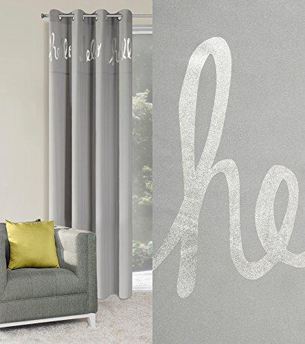 Ösenvorhang 140x245 cm HELLO stahl + silber Wohnzimmer Blickdicht