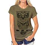Xinwcang T-Shirt/Oberteile Kurzarm Eule/Sonnenblume Tops Bluse - Damen Grün XL