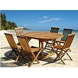 Salon de jardin en bois de teck huilé 6/8 personnes - Table ronde/ovale larg 120cm long 120/170cm + 6 chaises pliantes