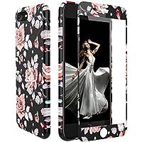 iPhone 7 Hülle Panzerglas, iPhone 8 Hülle Blumen, Zxk Co Weich Silikon Schutzhülle mit Blumen und [3D Touch ] [9H Hartglas] Panzerglasfolie 360 Grad für iPhone 7/iPhone 8 4,7 Zoll
