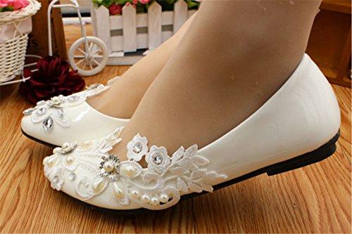 JINGXINSTORE Scarpe da sposa fatte a mano da sposa in pizzo bianco perlato bianca