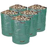 Schramm® 5 Stück Gartensäcke 300L Grün Robusten Polypropylen Gewebe PP Gartensack Garten Sack Säcke Big Bag 5er Pack