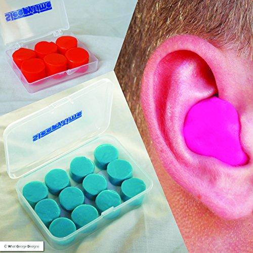 """Pack de 6 o 12 tapones de silicona suave para los oídos, con caja de plástico para guardarlos, color azul, ideal para un sueño relajante libre de ruidos, incluye el libro electrónico """"How to get a good sleep"""", azul, 12"""
