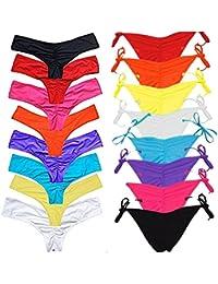 FITTOO Braguitas Tangas parte inferior traje de baño Mujer Alta Elasticidad Color Sólido Talla Grande Colores Varias Bikini Vendaje850840