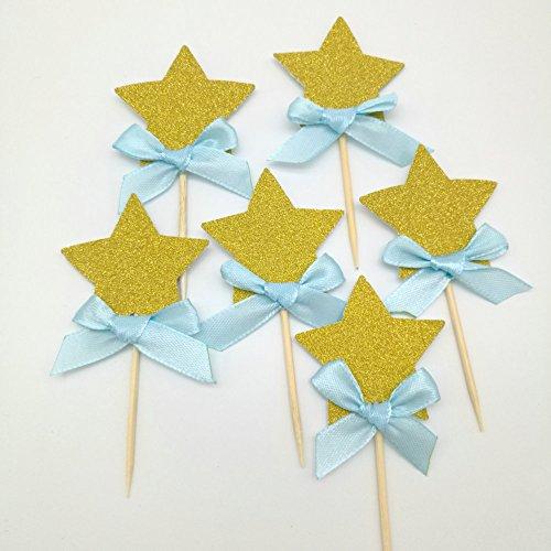 dooxoo Gold Glitter Sterne Cupcake Topper Mädchen ersten Geburtstag Party Twinkle Twinkle Little Star Pink und Gold Party Supplies Boy 1. Geburtstag - Gold Blue Bow