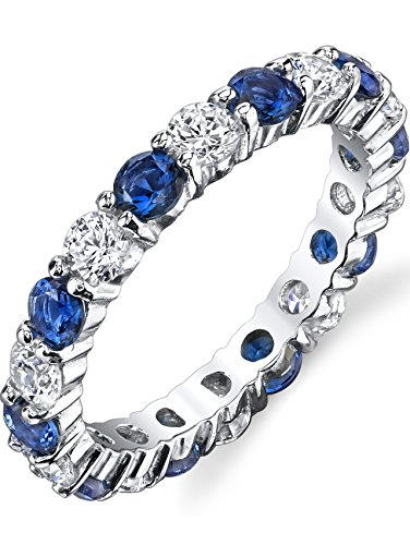 Ultimate Metals Co.® Damen Sterling Silber 925 Ewigkeit Ring mit blau saphir zirkonia CZ,Bequemlichkeit Passen,Größe 59