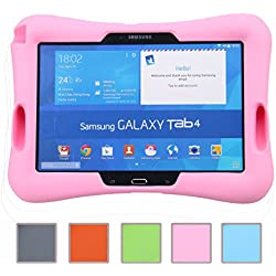 Newstyle Prueba de Golpes para Niños Super Ligero Cubierta de Protección Diseño de Amplificador con Entrada de Audio para Samsung Galaxy Tab 4 10.1 SM-T530 /T531 /T535 (Rosa)