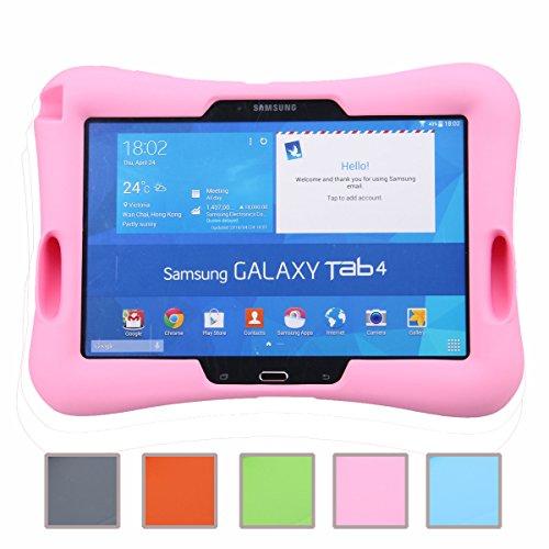 NEWSTYLE Samsung Galaxy Tab 4 10.1 Kinderfreundliche Silikon Hülle Schutzhülle Tasche Case für Samsung Tab 4 SM-T530/T531/T535 Tab 3 GT-P5200 P5210 P5220 (10,1 Zoll) - Pink (Kind Galaxy 4 Tab Case)