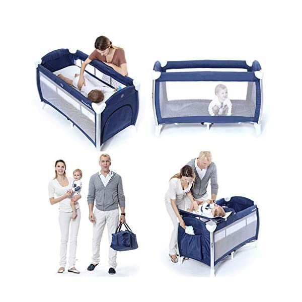 Travel Crib Cots Baby Nest Pod Bassinet Multifunctional Crib Travel Cots for Baby Sleeptight Game Bed Portable Folding with Mattress Mosquito Net 3 Colors (Color : A) OZYN Travel cots 【2-IN-1 BABY TRAVEL COT】There are two layers on this baby travel bed, the top layer is suitable for feeding and resting, and the bottom layer is ideal for crawling or learning to walk. You can use our infant cot in various kinds of places according to your different needs. 【MATERIAL】High quality oxford material, soft and comfortable, free of paint formaldehyde, wear-resistant, dirt-resistant, durable, preferably coir mattress, care for your baby's body and healthy growth 【SAFE CONSTRUCTION FOR BABY】Breathable mesh bed, protect your baby from bruising and bruising, good for air circulation, round corner bed, white plastic material, durable and rust-free, protect your baby from harm 4