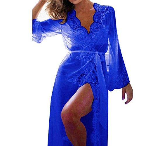 beiguoxia Frauen Babydoll Nachthemd Lace lange Ärmel Hochschlitz Gürtelrogen Nachtwäsche (Lange Spitze Robe)